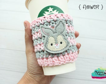 Coffee Cup Cozy { Thumper }  rabbit, bunny, bambi gray pink, tsum tsum coffee sleeve, birthday, stocking stuffer, mug starbucks, crochet