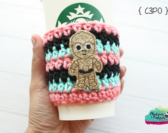Crochet Coffee Cozy { C3PO } star wars, gold glitter Tsum Tsum Inspired striped, coffee cup sleeve, mug starbucks water bottle
