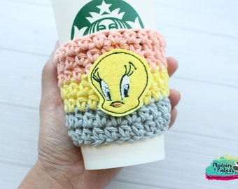 Yellow Bird { Tweety } cartoon, sylvester, yellow crochet coffee sleeve, knit mug sweater, starbucks gift, frappuccino holder
