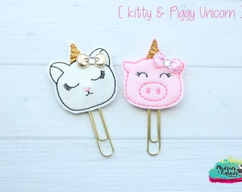 Planner Clip { Piggy Kitty Unicorn } princess crown, cat, piglet, pig gold Paper Clips, Stationary, Planner Supplies, gift, parade, party