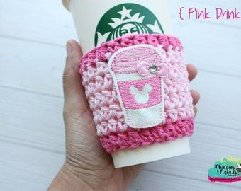Coffee Cup cozy { Pink Drink } Minnie frappe, pink glitter, Summer Coffee frappuccino sleeve, holographic, birthday gift, millennial pink