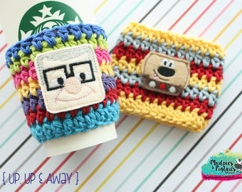 Character Coffee Cozy { Up Movie } carl, dug the dog, park essentials Summer, mug sweater, crochet cup sleeve, stocking stuffer
