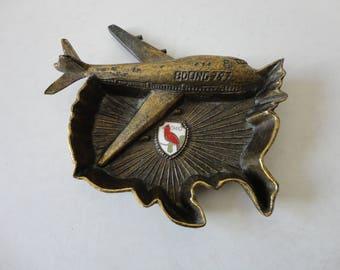 VINTAGE metal AIRPLANE ASHTRAY - boeing 747 - united states - ohio souvenir