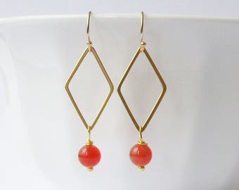 Orange and Gold Drop Earrings, Bright Orange Earrings, Orange and Gold Jewelry