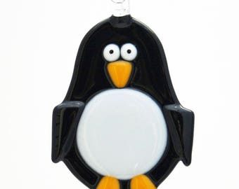 Glassworks Northwest - Penguin - Fused Glass Ornament