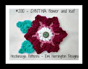 CROCHET PATTERN, crochet flower, crochet leaf, #2010