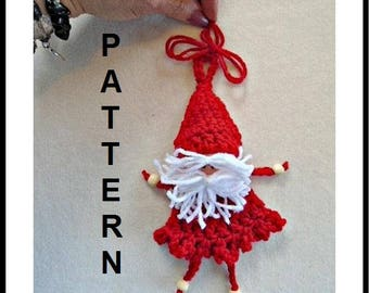 CROCHET PATTERNS, CHRISTMAS Ornament, Little Dangle Legs Santa, Holiday Decorations, home decor, #2106 - gift topper, tree ornament