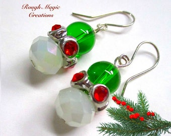 Christmas Earrings, Holiday Jewelry, Bright Green & Frosty White, Red Rhinestone, Silver, Large Drops, Festive Colorful Gift for Woman E188