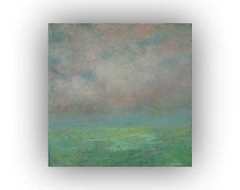 Small Abstract Landscape Oil Painting on Canvas- 12 x 12 Green Blue and Pink Field Sky and Cloud Painting- Original Palette Knife Art
