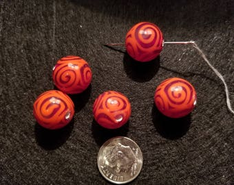 1 15mm Red Opaque with Light Red Swirls Lampwork Glass Bead A6