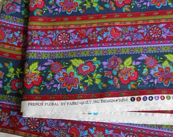 FRENCH FLORAL STRIPED Fabric Colorful Crewel Design Cotton Print, Rich Cranberry Teal Lavender Gold on Black 42 x 108 Fabri-Quilt Unused