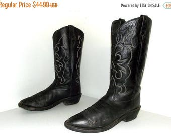 Rockin' Black  Leather cowboy boots size 9 D or cowgirl size 10.5