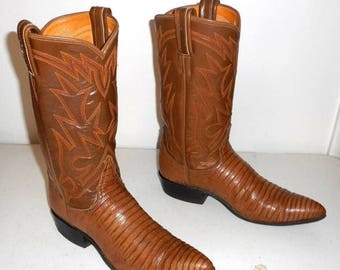 Vintage Tony Lama Cowboy Boots Womens Lizard 7 A Narrow Width Tan Cowgirl Exotic
