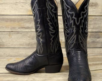 Mens 9 D Cowboy Boots Justin Black Lizard Exotic Reptile Country Western Rocker
