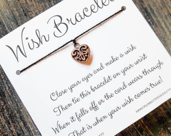 Wish Bracelet - Available In Over 100 Different Colors!!!  (Copper Filigree Heart Charm)