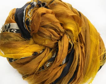 Sari Silk Ribbon, Reclaimed, Recycled, Fair Trade, Skein no. 327, 77 yds.