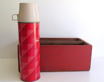 Vintage Red Black and White Thermos Icy Hot Camping Hiking Tailgate Picnic Thermos