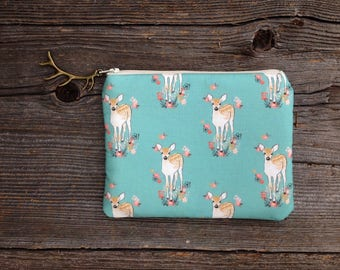 Floral Deer Clutch, Coin Purse, Zipper Pouch, Women's Birthday Gift, Bridal Shower Gift, Metallic Gold Bag, Deer Silhouette Bag, Fawn Clutch