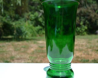 "Large 9.5"" Mid-Century Forest Green Glass Vase"