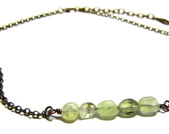 ON SALE Prehnite Beaded Choker Necklace Top Selling Jewelry Boho Choker Necklace Gift for Women Layer Necklace Bead Choker