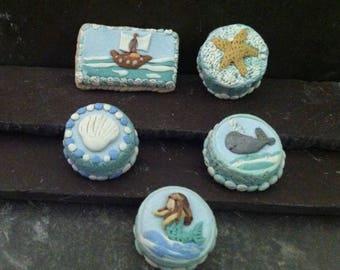 Nautical Dollhouse Miniature Cakes- Ship, Starfish, Mermaid, Whale and Clam Shell