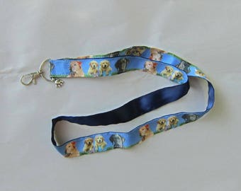 Handmade Grosgrain & Satin Ribbon Dog LABRADOR RETRIEVER Lanyard/Keychain/Badge Holder w/Metal Charm