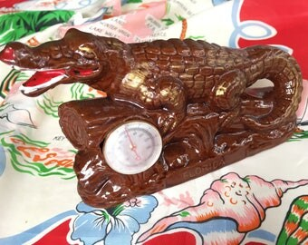 Vintage Florida alligator thermometer Mid Century 1940s 1950s redware brown and gold souvenir Floridiana kitsch office