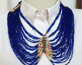 Ethnic Egyptian Necklace Cobalt Blue Seed Beads Large Vintage Breast Plate