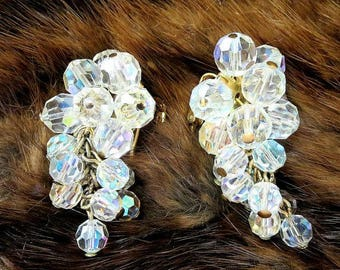 SALE Crystal Waterfall Earrings with Aurora Borealis Crystals Vintage