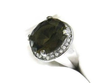 SALE Smokey Quartz Ring Glass and Clear Rhinestones Size 6.75 Vintage