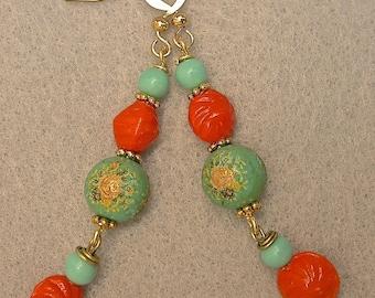 Vintage Japanese Tensha Aqua Blue Bead Earrings, Vintage German Orange Glass Sea Shell Beads, Vintage Japanese Glass, Gold Ear Wires