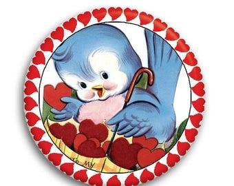 "20% OFF - Valentine Retro Blue Bird Pocket Mirror, Magnet or Pinback Button - Favors - 2.25""- MR573"