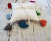 Custom color tassel pillow