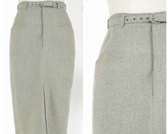 Vintage 1950s Skirt - Classic Heathered Grey Wool 50s Wiggle Skirt with Arrow Embroidered Pocket Details and Belt