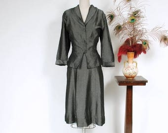50% CLEARANCE Vintage 1950s Dress Set - Glimmering Pewter 50s Peplum Suit in Seersucker Texture with Asymmetric Accents