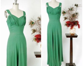 Vintage 1940s Dress - Rare Kelly Green New York Creations Rayon Crepe Sleeveless Rayon Gown with Full Skirt