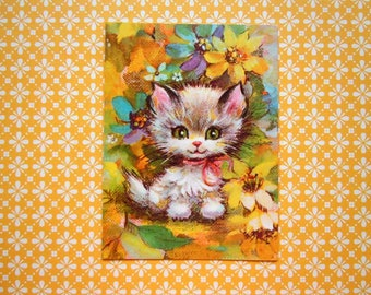 Vintage Kitten Cat with Colorful Flowers Greeting Card