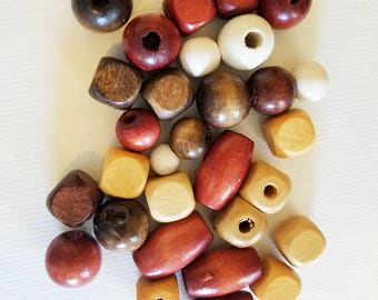 30 big wooden beads wood beads bulk lot brown beige white macrame beads round ball barrel oval assorted mix #supply3011