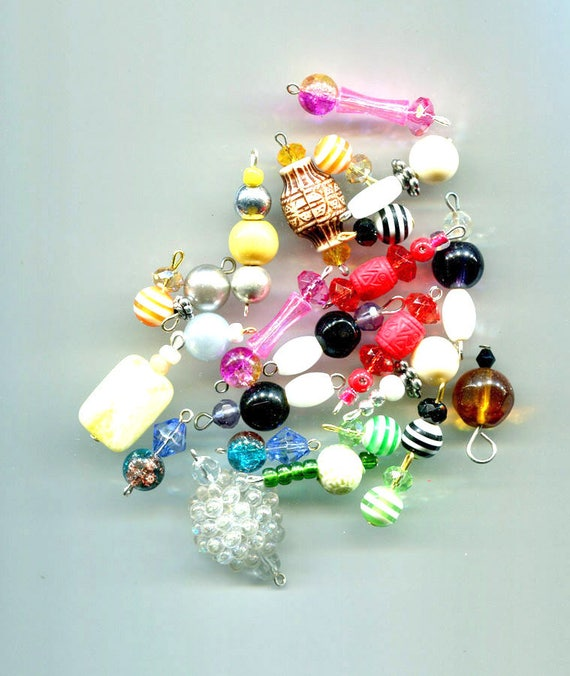 bead drop charms pendants 25 piece glass plastic beads beading mixed lot #supply894