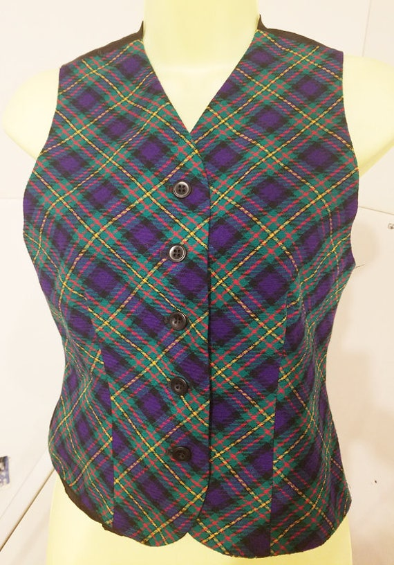WOMENS christmas wool green red plaid vest top size 2 small womens blouse christmas top shirts 90s