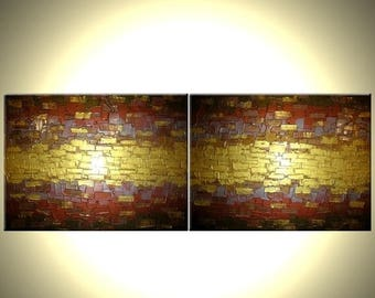 Abstract Gold Art, Original Painting, Metallic Textured Paintings, by Lafferty - 18 X 48 - ONE DAY Sale Sale 22% Off