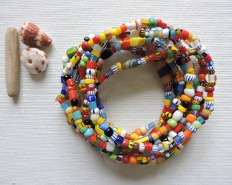 Africa -  Ghana trade beads - set of 9 stretch bracelets- simple, colorful stack - small  Christmas bead stretchies