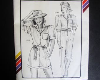 All Sizes Overalls Romper Jumpsuit Onesie / Womans Vintage 1980s Sewing Pattern Stretch & Sew 727 / 80s Style Out of Print Bust 30 - 46