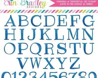 50% OFF SALE Blue Clipart Alphabet Digital Scrapbooking Alpha Instant Download Commercial Use Clip Art