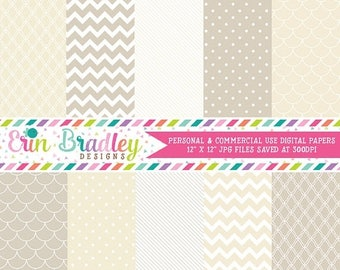 50% OFF SALE Digital Scrapbook Papers Personal and Commercial Use Beige and Cream Medley