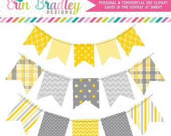 50% OFF SALE Yellow & Gray Bunting Clip Art Banner Flags Clipart Commercial Use