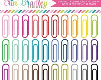 80% OFF SALE Paperclips Clipart School Planner or Office Supply Clip Art Graphics Personal & Commercial Use 30 Colors Bundle Set