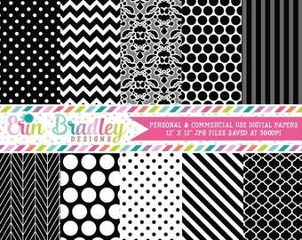 80% OFF SALE Black Digital Paper Pack Polka Dots Damask Chevron and Striped Background Patterns Digital Scrapbooking