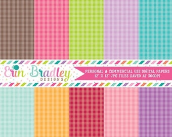 80% OFF SALE Gingham Digital Scrapbook Papers Personal and Commercial Use Instant Download