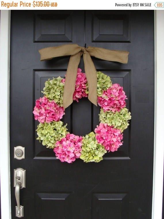 SUMMER WREATH SALE Custom Hydrangea Wreath- Summer Wreath- Spring Wreath- Choose your ribbon and Hydrangea colors